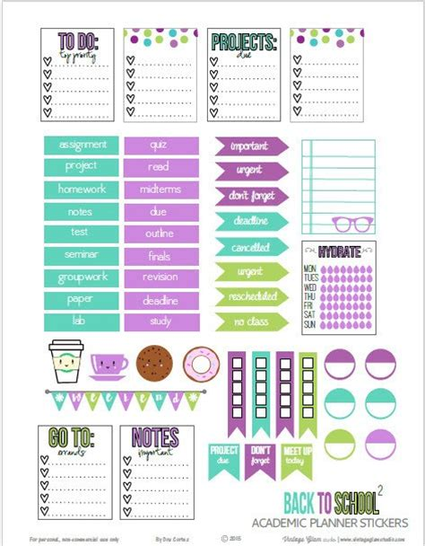 printable school planner stickers free printable planner stickers scrap booking
