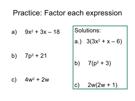 Factor The Common Factor Out Of Each Expression Worksheet by Factoring Quadratic Expressions