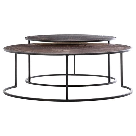 Nesting Coffee Tables Ariel Industrial Loft Copper Studded Nesting Coffee Table Pair Kathy Kuo Home