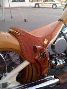 motorcycle leather saddle seat with gun holster