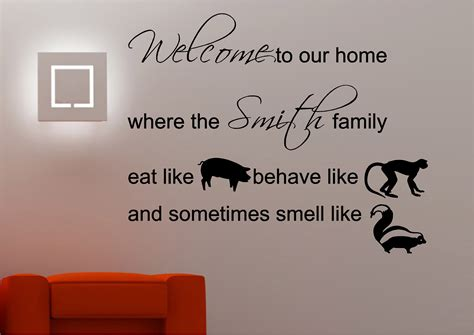 Personalised Home Decor by Personalised Family Welcome Wall Art Sticker Lounge