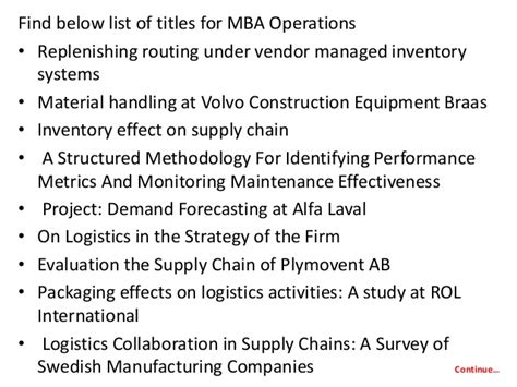 Mba Logistics Project Titles by Project Report Titles For Mba In Operations
