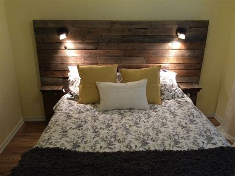 headboard lighting ideas pallet headboard with shelf lights and plugs for cell