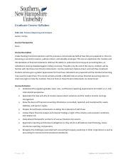 Snhu Mba Graduation Requirement by Acc 201 Undergraduate Course Syllabus Acc 201 Financial