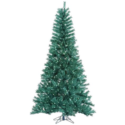 9 foot aqua tinsel christmas tree pre lit a147281