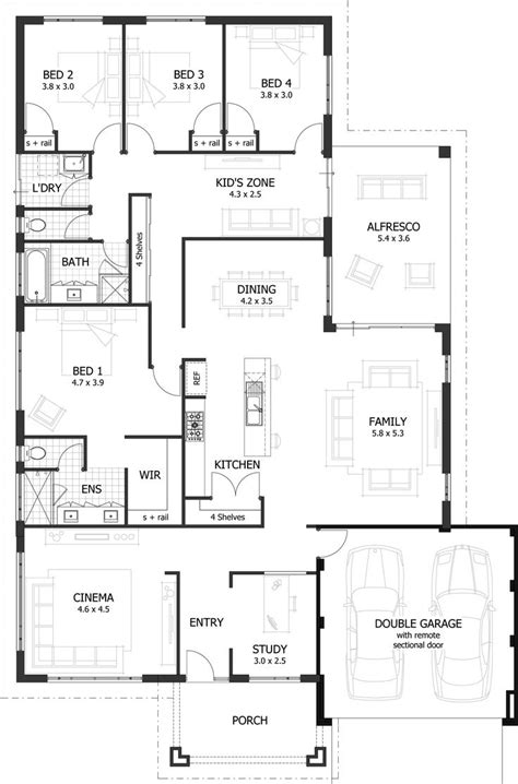 4 room floor plan 25 best ideas about 4 bedroom house plans on pinterest