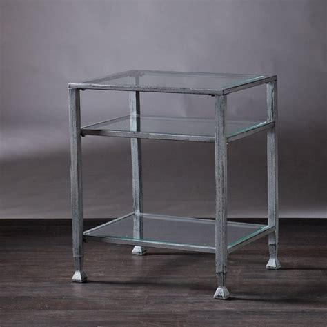 metal and glass end tables southern enterprises metal glass end table in silver and