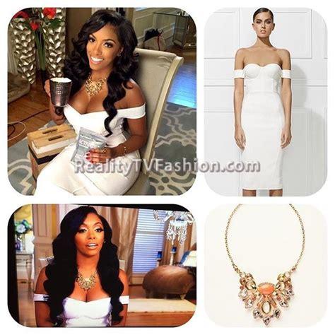 porsha williams necklace porshawilliams white off the shoulder dress coral bib