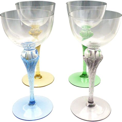 wine glass without stem vintage colored stem wine glasses hand blown crystal from