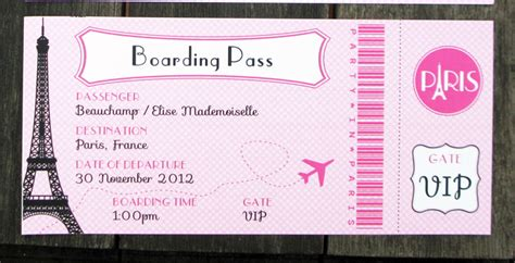 Birthday Party In Paris Invitations Printable Collection Boarding Pass Invitation Template