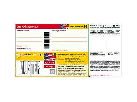 Dhl Warensendung Aufkleber Ausdrucken by Dhl P 228 Ckchenmarke Welt Bis 2 Kg Shop Deutsche Post