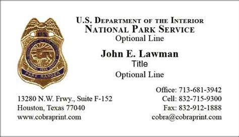 Nps Business Card Template by Cobra Printing Productions Nps Business Cards