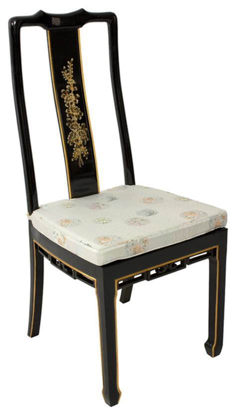lacquer dining chair black floral asian dining chairs