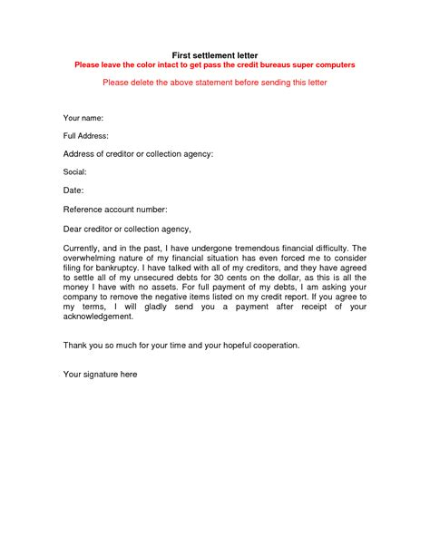 Letter Of Credit Card Settlement Format Resume Exodus Worksheet Printables Site