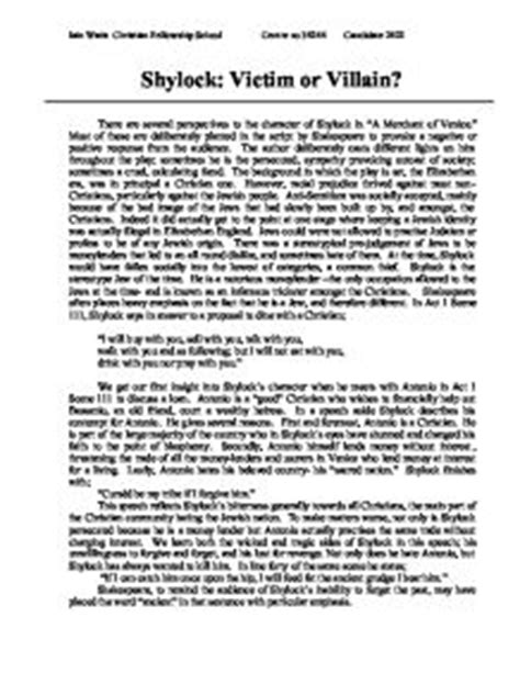 Shylock Victim Or Villain Essay Introduction by Shylock Victim Or Villain A Merchant Of Venice Gcse Marked By Teachers