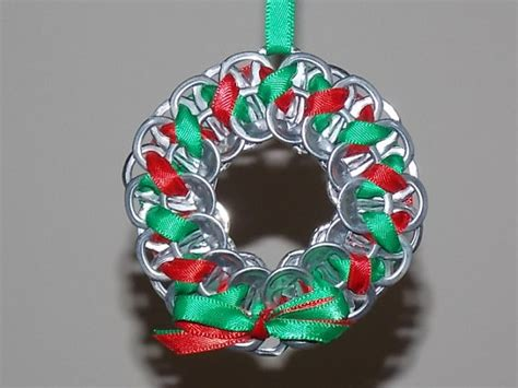 christmas wreath ornaments made with soda tabs by