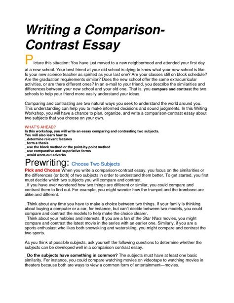 Comparison Essay Topics by Compare And Contrast Essay Topics Comparison Essay Topics For College Co Comparison Contrast