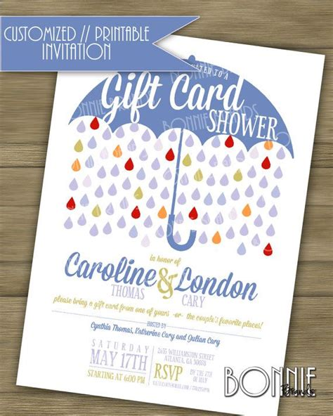 customized printable s wedding shower invitation quot gift card quot theme blue