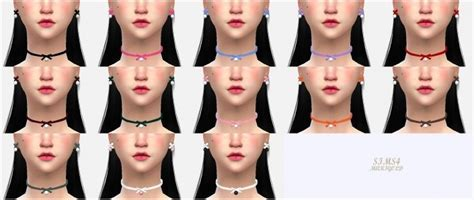 Thin ribbon choker & earrings at Marigold » Sims 4 Updates