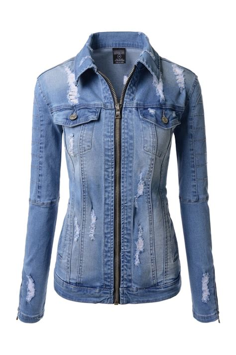 Distressed Denim womens blue vintage distressed denim jackets korean