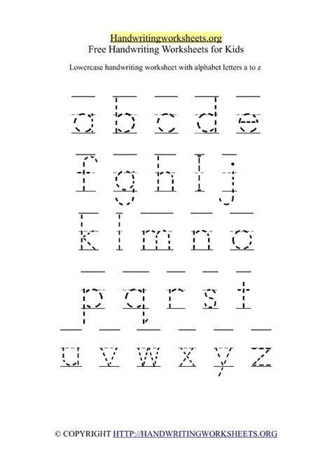 printable handwriting worksheets a z printable lowercase handwriting worksheet a z