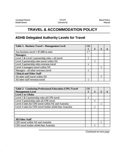 Travel Policy Template 7 Free Word Pdf Document Downloads Free Premium Templates Policy Template