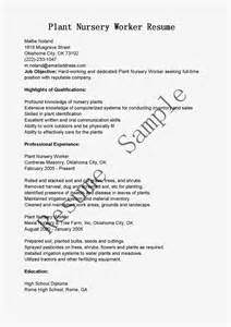 Greenhouse Worker Cover Letter by Plant Nursery Worker Sle Resume