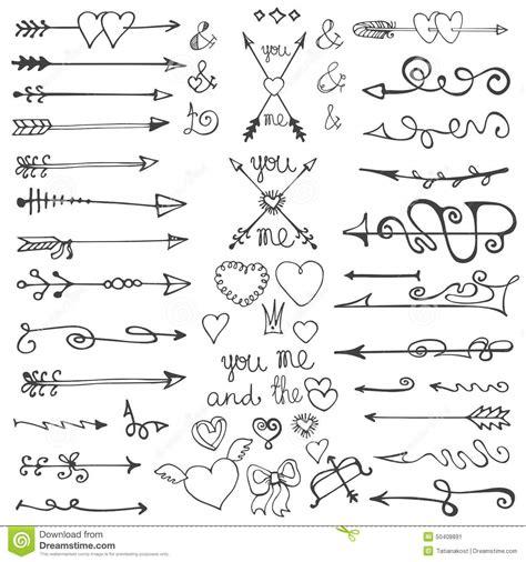 free doodle arrow vector doodle arrows hearts elements stock
