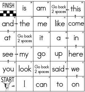 printable sight word board games sight word game board games