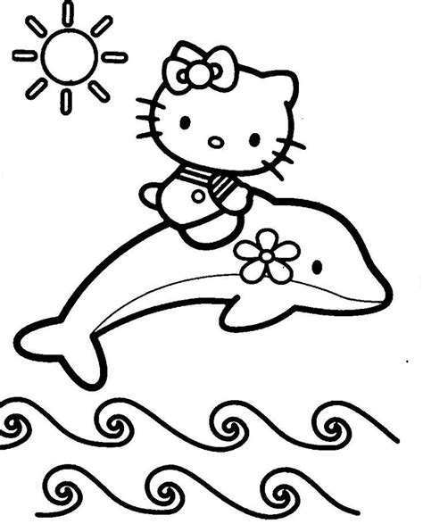 Hello Kitty With Dolphin Coloring Pages | dolphin coloring pages for kids coloring home