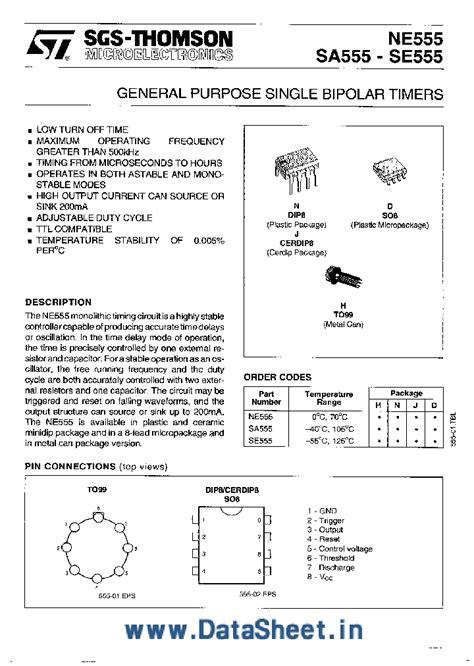 integrated circuit 555 datasheet ne555 163177 pdf datasheet ic on line