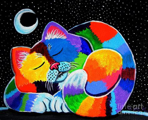 colorful cats colorful cat in the moonlight painting by nick gustafson