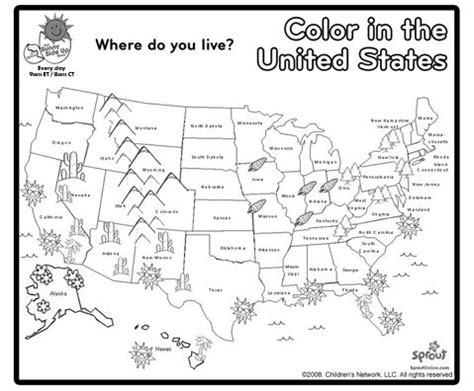 printable coloring pages us map color in the united states learn the states pinterest