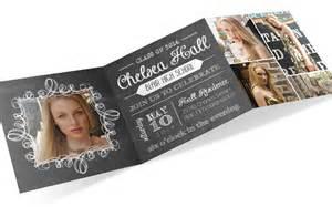 graduation invite tri fold invitation chalkboard invite