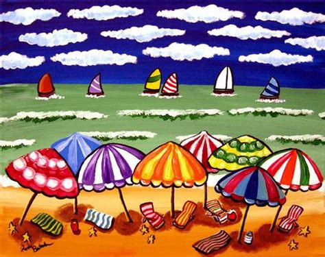sailboat umbrella beach umbrellas sailboats seascape whimsical by