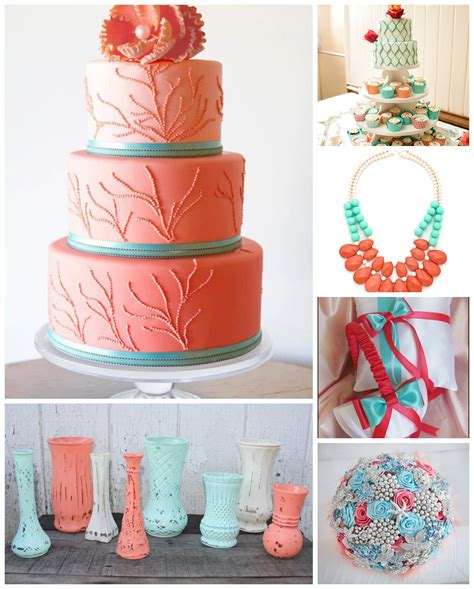 spring wedding color palette aquas and corals and more