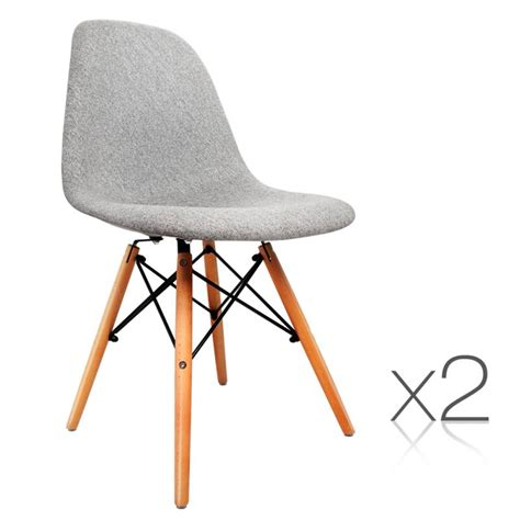 Replica Eames Dining Chair 2x Replica Dsw Eames Padded Dining Chairs Grey Buy Sets Of 2