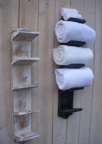 towel holder in bathroom handmade towel rack bath decor wood shabby cottage