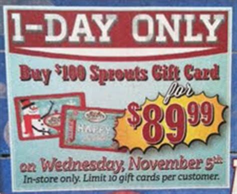 Sprouts Gift Cards - 89 99 for 100 sprouts gift card today wed only bargain believer