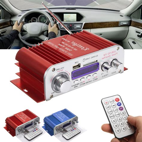 Mini Mp3 Car 4 channel hi fi audio stereo mini lifier car home mp3 usb fm sd w remote 12v alex nld