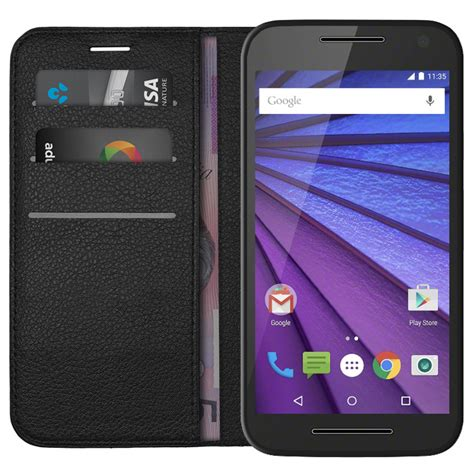 Leather Motorola Moto G leather wallet for motorola moto g 3rd black