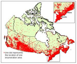 map of canada population where the aren t a map showing the vast emptiness