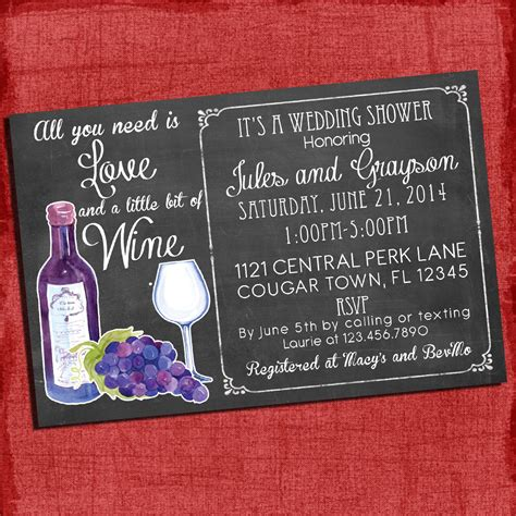 printable wine theme couples coed wedding shower invitation i