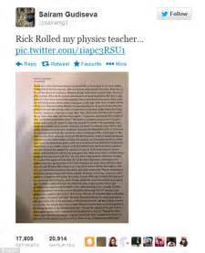 Rickrolled student pranks his physics teacher by inserting lyrics to