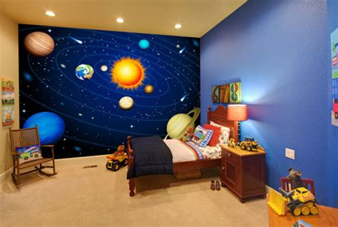 childrens space and planets mural kids indoor