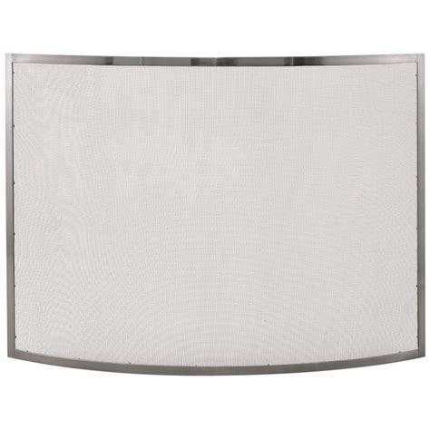 pewter fireplace screens uniflame single panel curved pewter fireplace screen