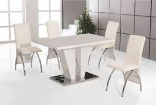 Dining Table With White Chairs Costilla White High Gloss Dining Table With 4 White Faux Leather Chrome Chairs