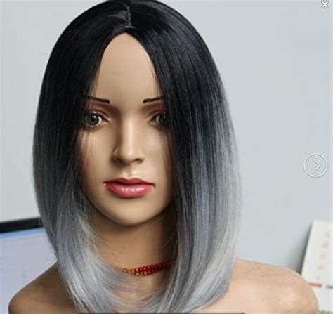 Black Hairstyles Hair Boxed Cut by Black Gray Ombre Wig Fashion Heat Resistant Bob