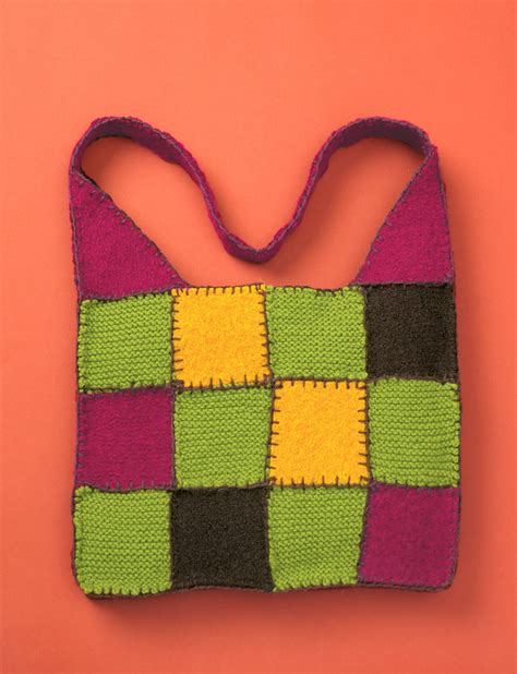 Patchwork Bag Pattern - felted knit patchwork bag patterns yarnspirations