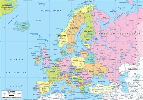 europa map maps of europe map of europe in political administrative physical geographical